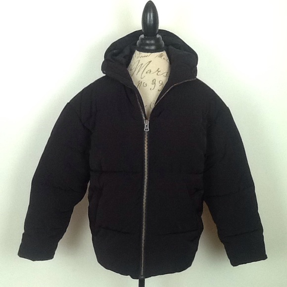 ASOS Jackets & Blazers - asos brand black puffy jacket with hood in 2XS